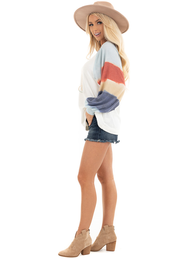Ivory Soft Knit Top with Multi Colored Long Batwing Sleeves side full body