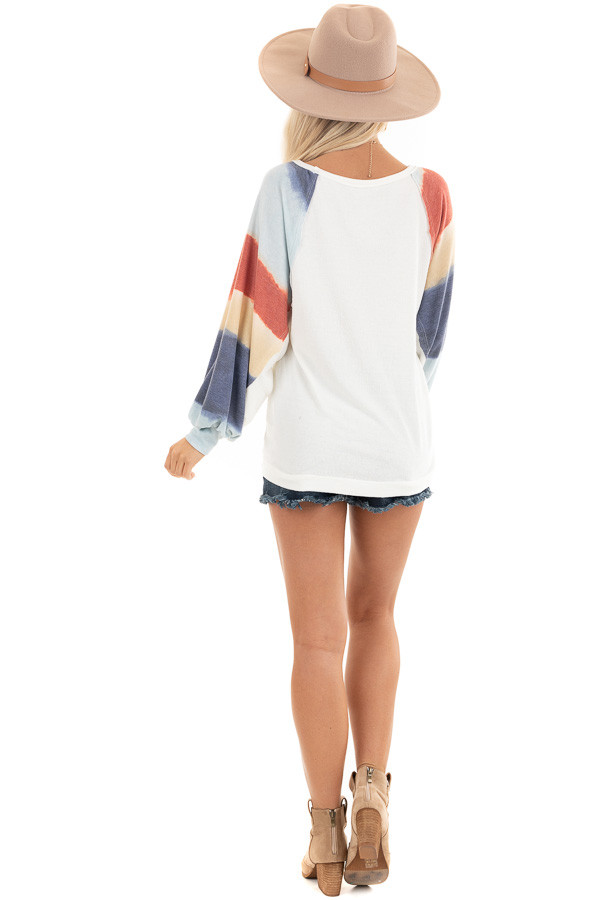 Ivory Soft Knit Top with Multi Colored Long Batwing Sleeves back full body