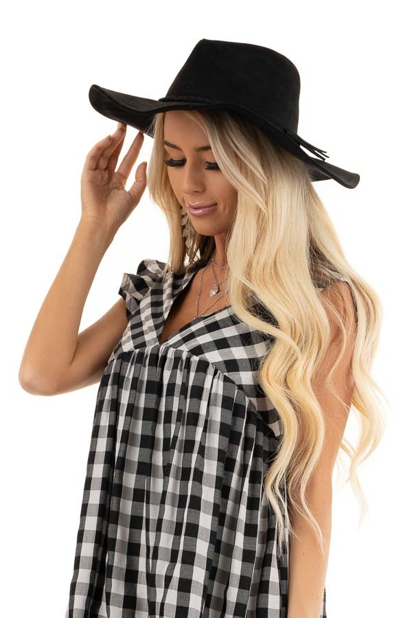 Black Faux Suede Wide Brim Hat with Braided Detail