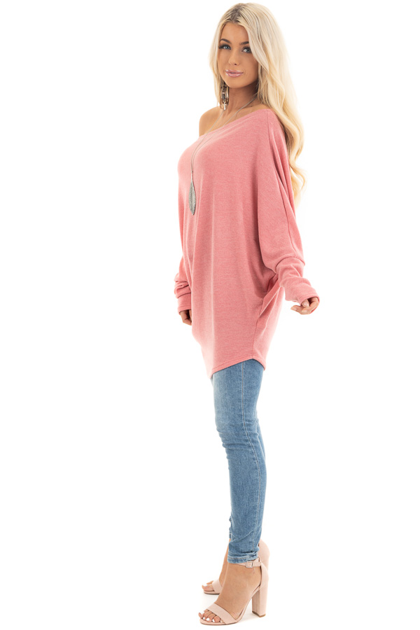 Baby Pink Off the Shoulder Top with Long Dolman Sleeves side full body
