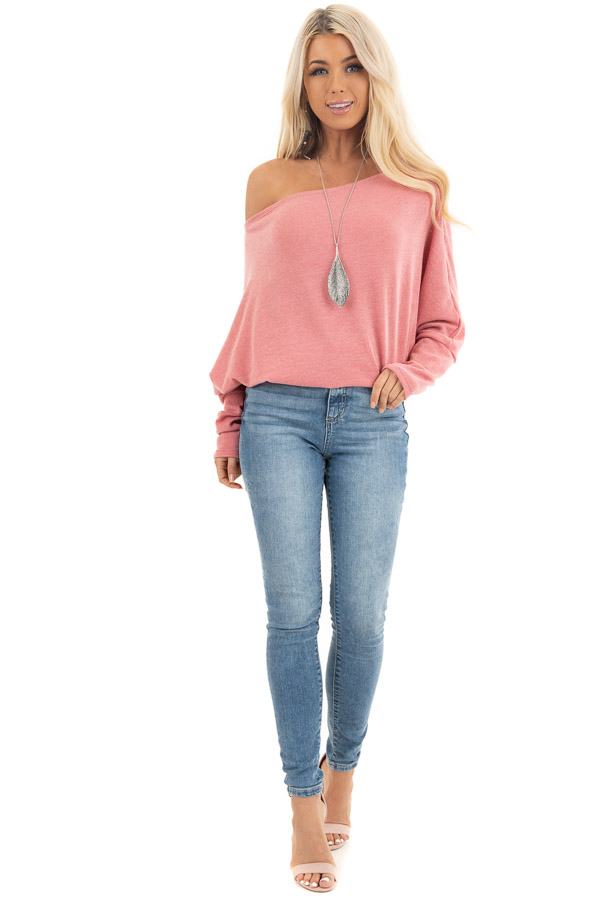 Baby Pink Off the Shoulder Top with Long Dolman Sleeves front full body