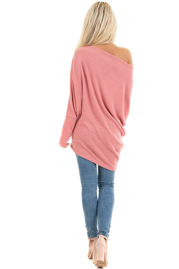 Baby Pink Off the Shoulder Top with Long Dolman Sleeves back full body