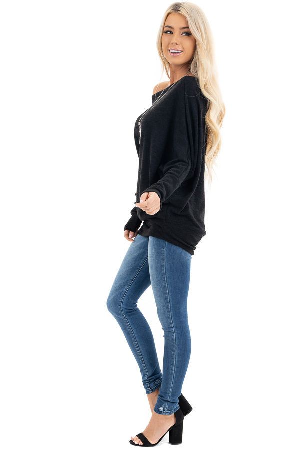 Black Off the Shoulder Top with Long Dolman Sleeves side full body