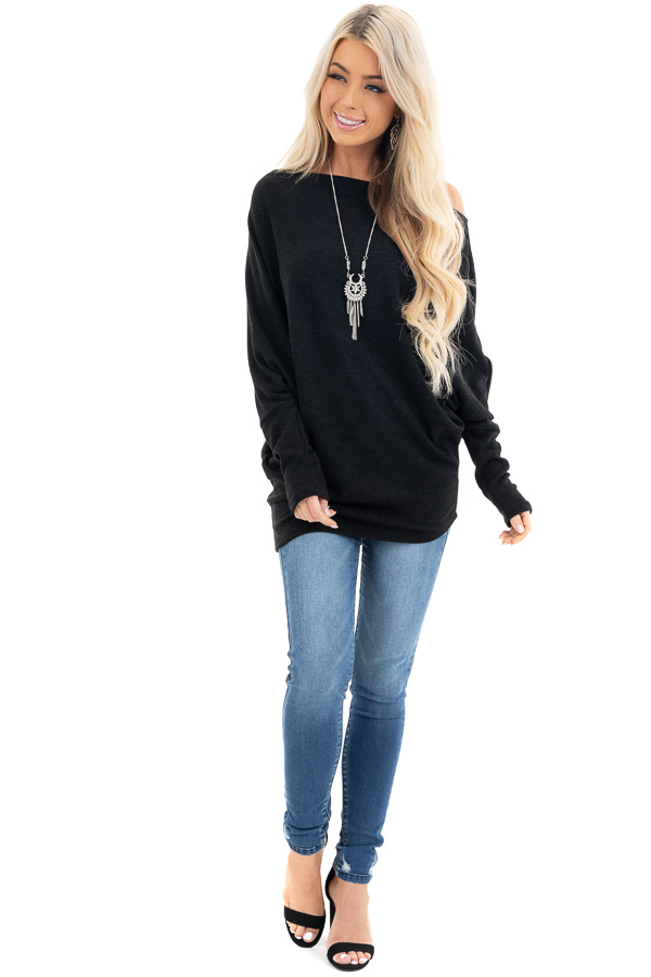Black Off the Shoulder Top with Long Dolman Sleeves front full body
