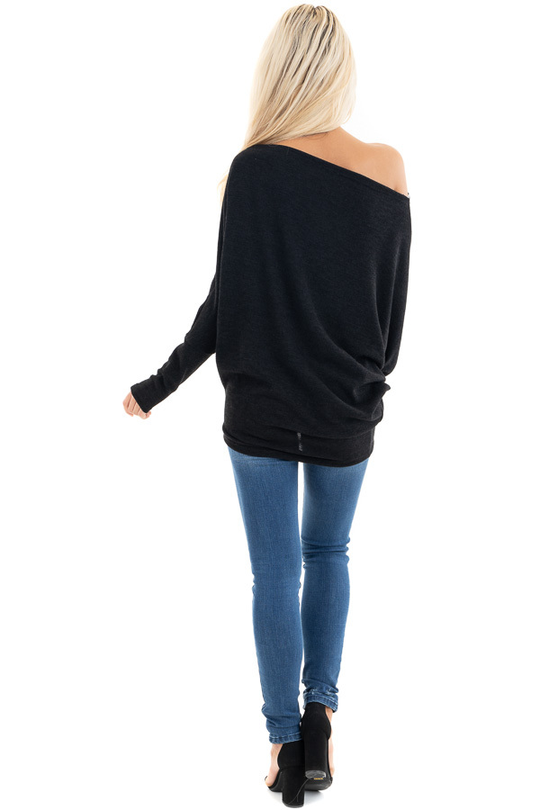 Black Off the Shoulder Top with Long Dolman Sleeves back full body
