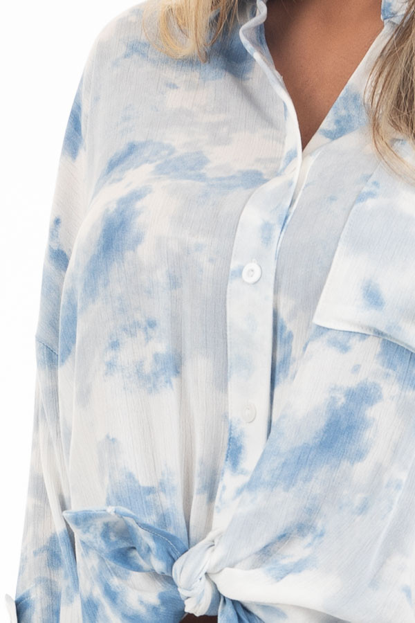Dusty Blue and White Tie Dye Long Sleeve Button Down Blouse detail