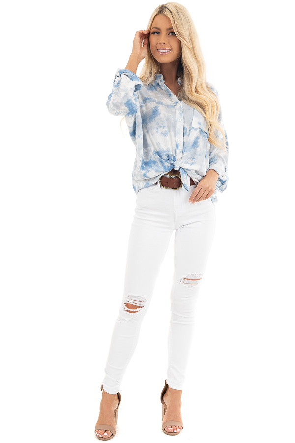 Dusty Blue and White Tie Dye Long Sleeve Button Down Blouse front full body