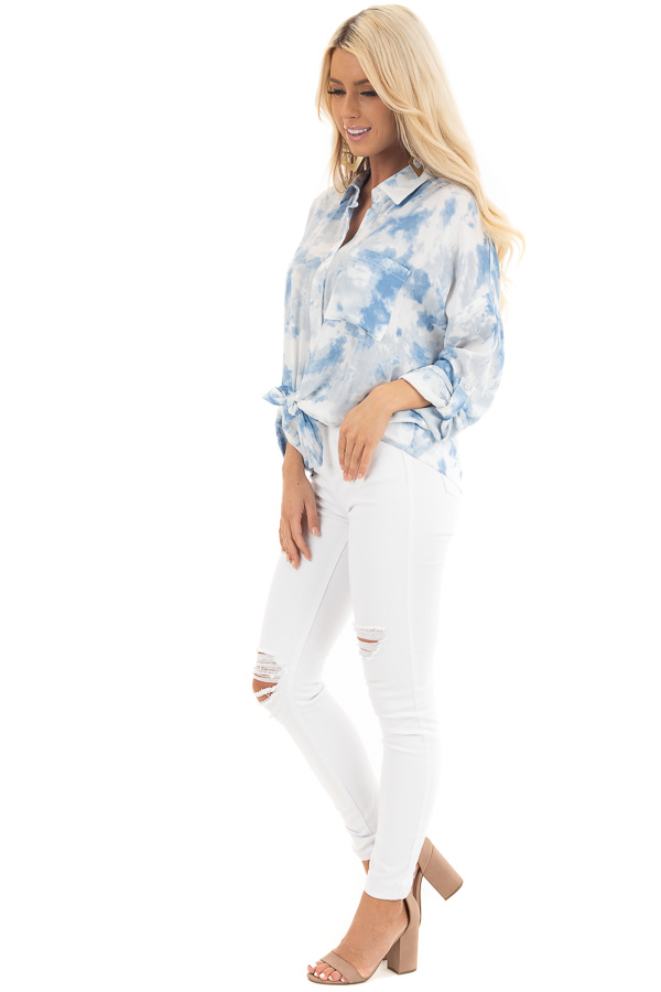 Dusty Blue and White Tie Dye Long Sleeve Button Down Blouse side full body