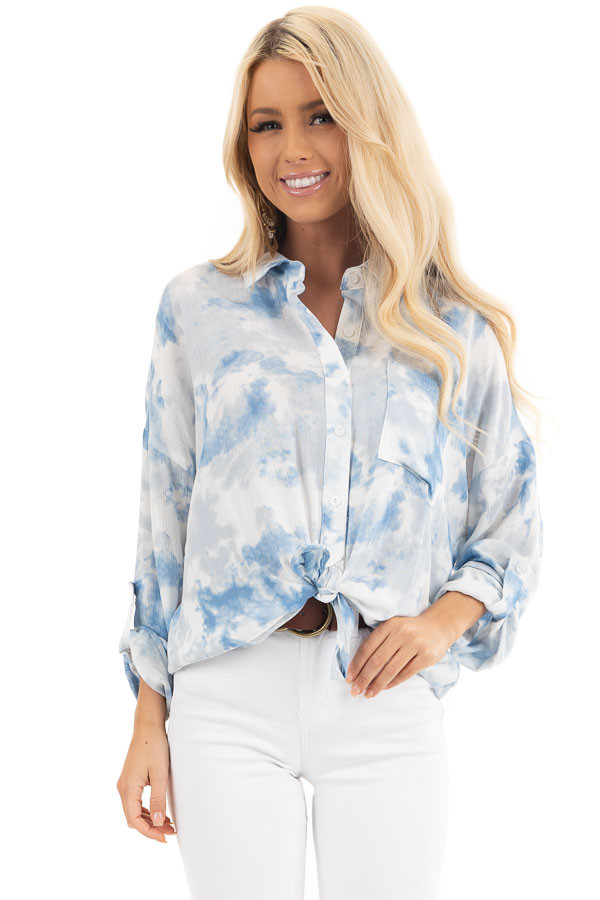 Dusty Blue and White Tie Dye Long Sleeve Button Down Blouse front close up
