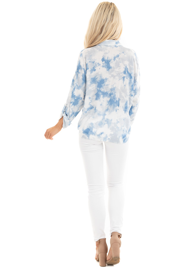 Dusty Blue and White Tie Dye Long Sleeve Button Down Blouse back full body