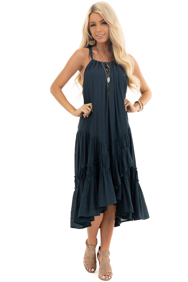 Slate Blue Sleeveless Halter Maxi Dress with Ruffle Details front full body