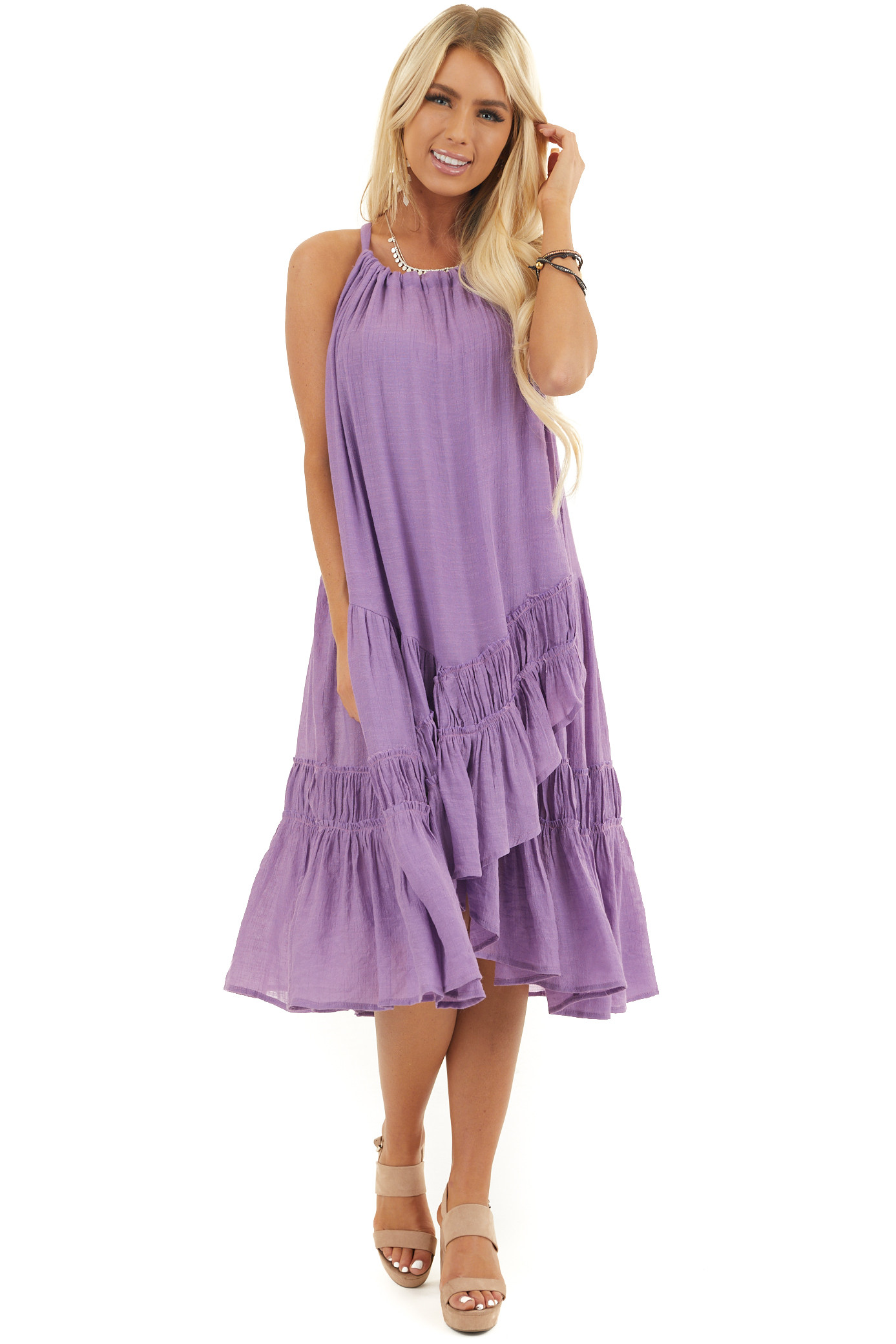 Lilac Sleeveless Halter Maxi Dress with Ruffle Details
