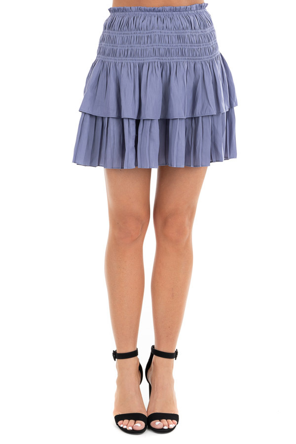 Deep Periwinkle Tiered Short Skirt with Smocked Waist front view
