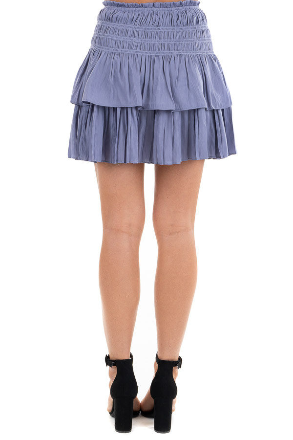 Deep Periwinkle Tiered Short Skirt with Smocked Waist back view