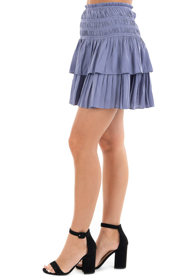 Deep Periwinkle Tiered Short Skirt with Smocked Waist side view