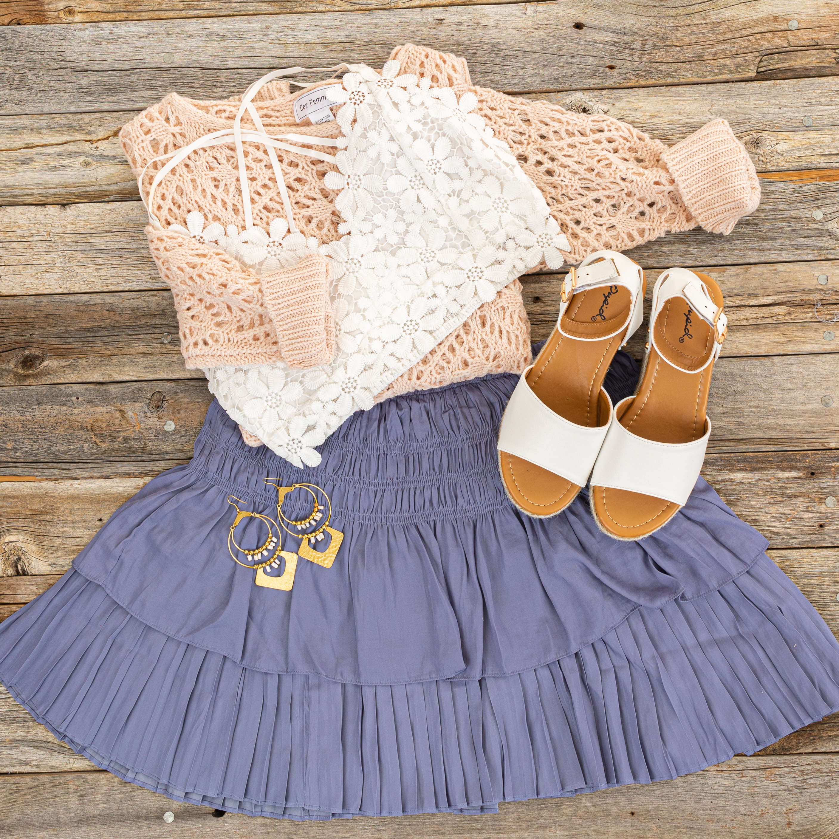Deep Periwinkle Tiered Short Skirt with Smocked Waist