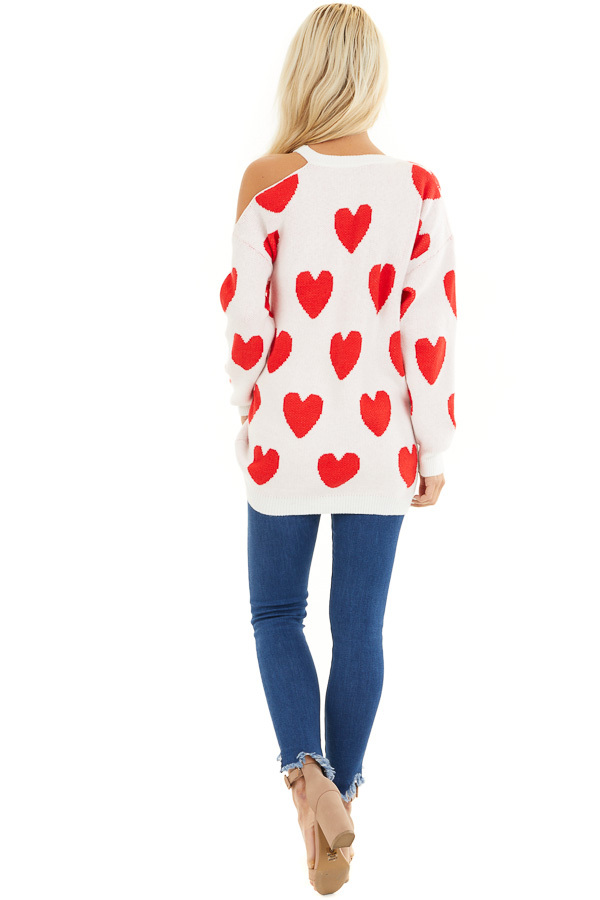 Lipstick Red and White Heart Print One Cold Shoulder Sweater back full body