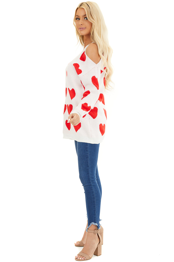 Lipstick Red and White Heart Print One Cold Shoulder Sweater side full body
