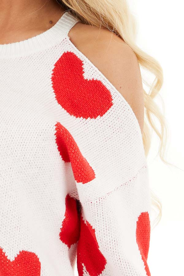 Lipstick Red and White Heart Print One Cold Shoulder Sweater detail
