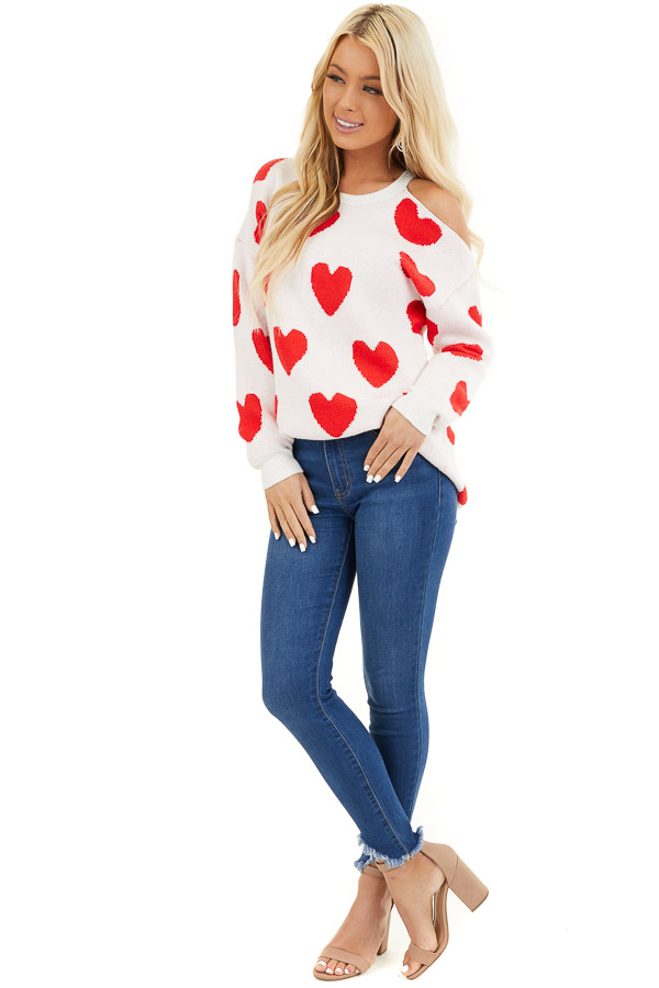 Lipstick Red and White Heart Print One Cold Shoulder Sweater front full body