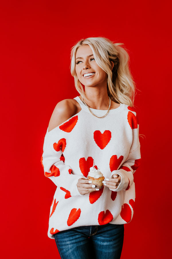 Lipstick Red and White Heart Print One Cold Shoulder Sweater