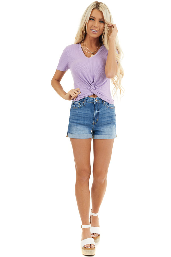 Lilac Ribbed Knit V Neck Top with Front Twist Detail front full body