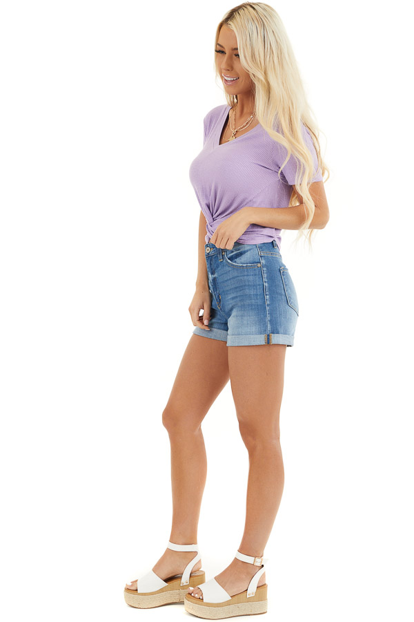 Lilac Ribbed Knit V Neck Top with Front Twist Detail side full body