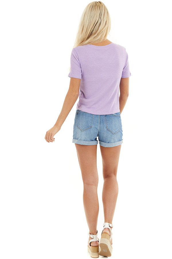 Lilac Ribbed Knit V Neck Top with Front Twist Detail back full body