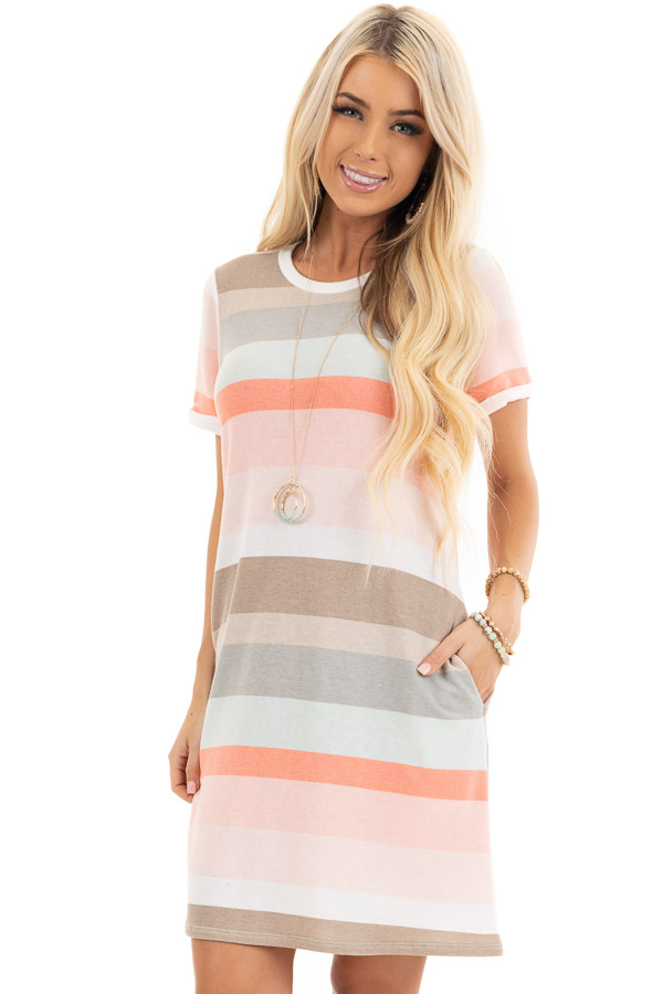 Peach Multicolor Striped Tee Shirt Dress with Pockets front close up