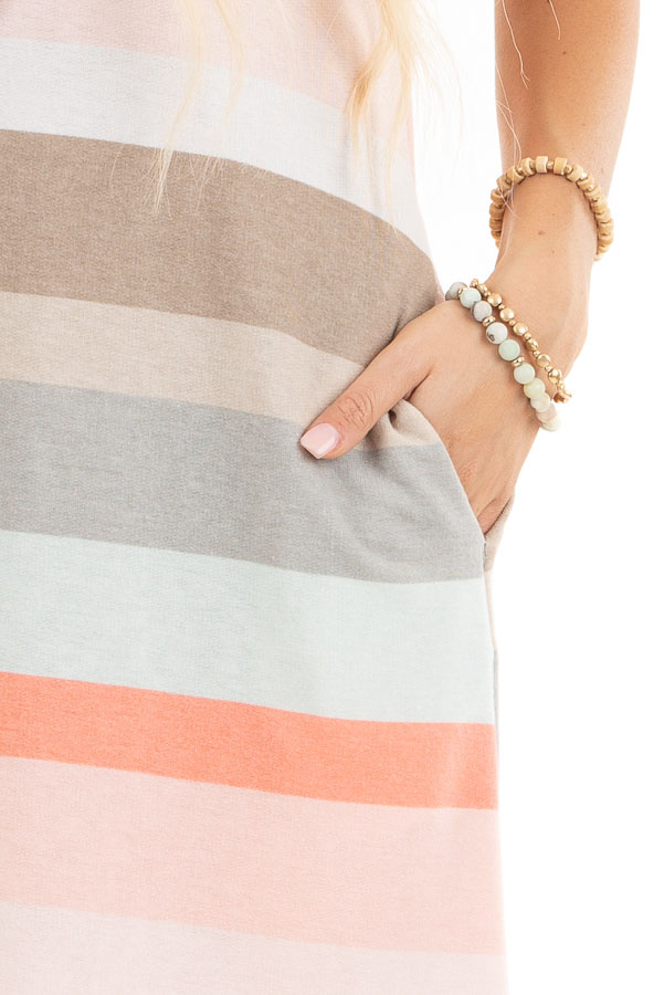 Peach Multicolor Striped Tee Shirt Dress with Pockets detail