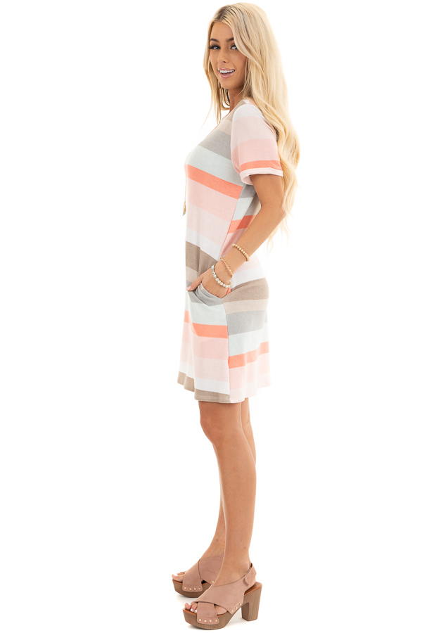 Peach Multicolor Striped Tee Shirt Dress with Pockets side full body
