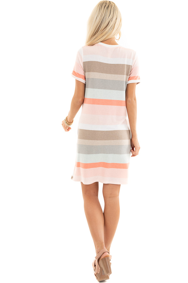 Peach Multicolor Striped Tee Shirt Dress with Pockets back full body