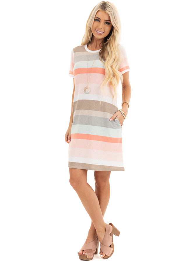 Peach Multicolor Striped Tee Shirt Dress with Pockets front full body