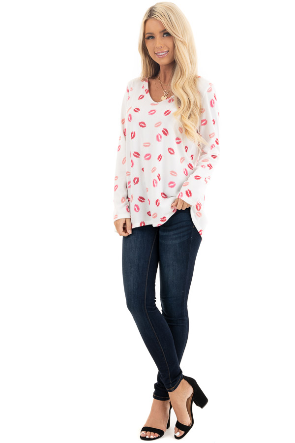 Ivory Multicolored Kiss Print Long Sleeve Knit Top front full body