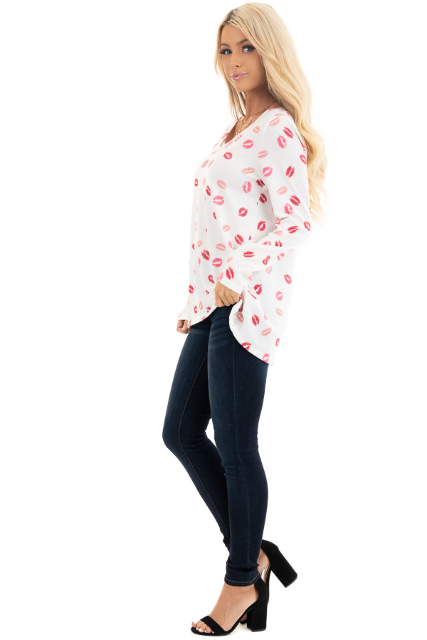 Ivory Multicolored Kiss Print Long Sleeve Knit Top side full body