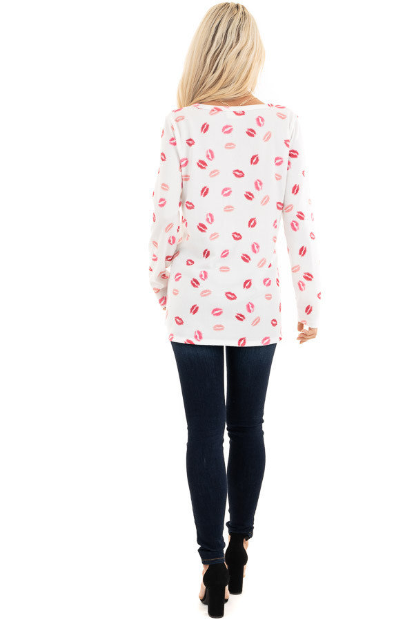 Ivory Multicolored Kiss Print Long Sleeve Knit Top back full body