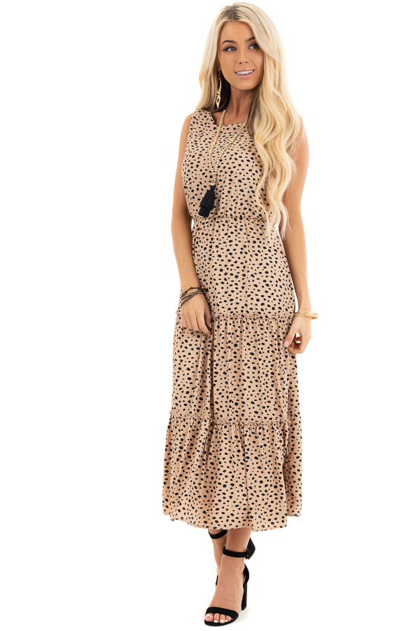 Beige Cheetah Print Sleeveless Midi Dress with Tiered Skirt front full body