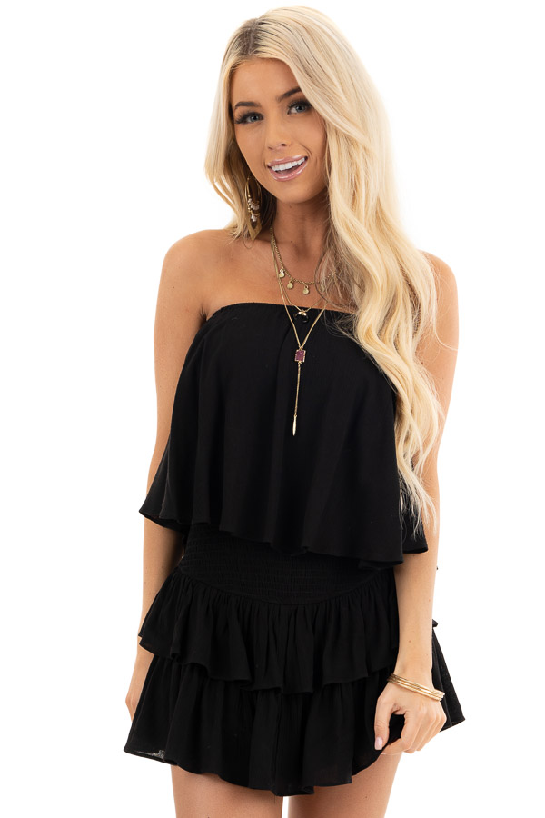 Black Strapless Woven Ruffle Romper with Smocked Detail front close up
