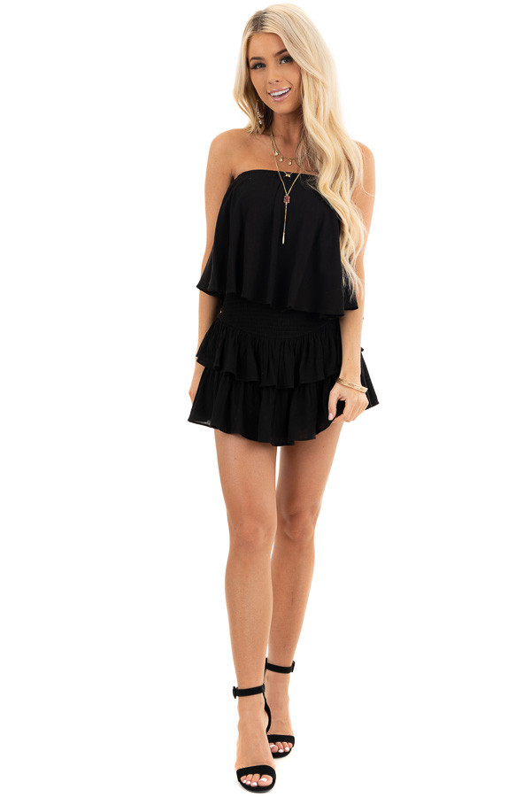 Black Strapless Woven Ruffle Romper with Smocked Detail front full body