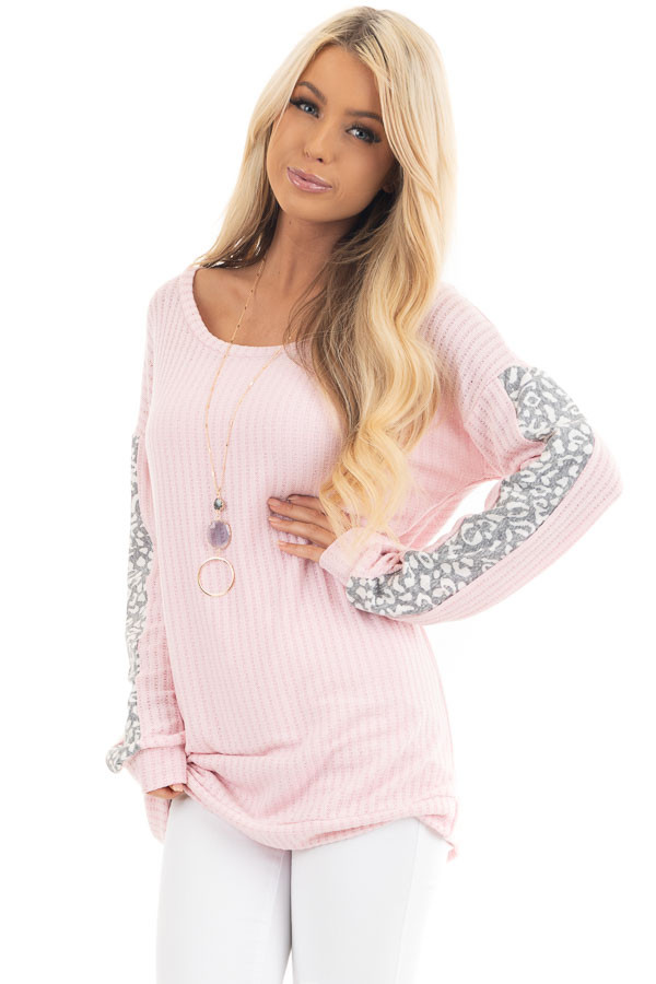 Baby Pink Long Sleeve Knit Top with Leopard Print Contrast front close up