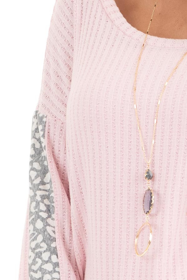 Baby Pink Long Sleeve Knit Top with Leopard Print Contrast detail