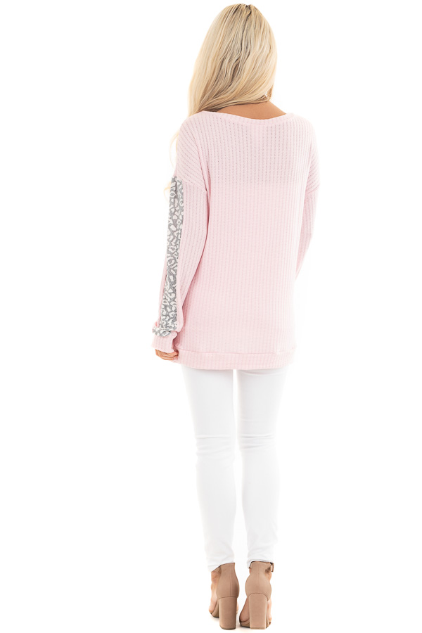 Baby Pink Long Sleeve Knit Top with Leopard Print Contrast back full body