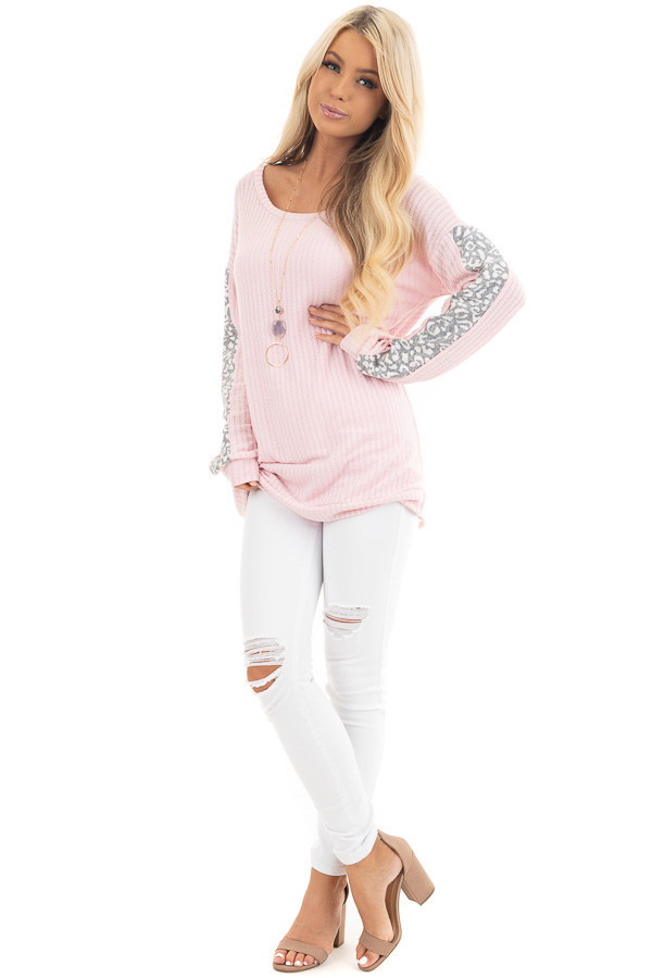 Baby Pink Long Sleeve Knit Top with Leopard Print Contrast front full body