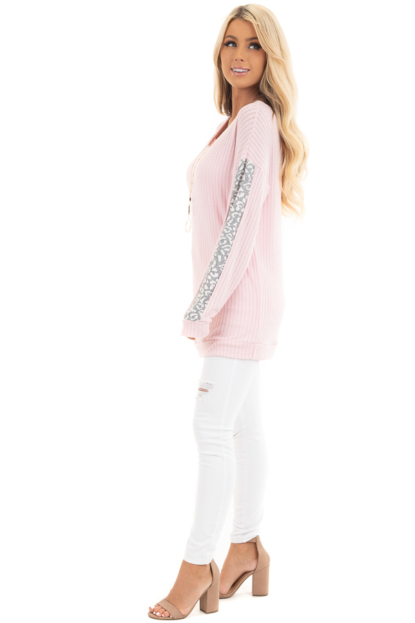 Baby Pink Long Sleeve Knit Top with Leopard Print Contrast side full body