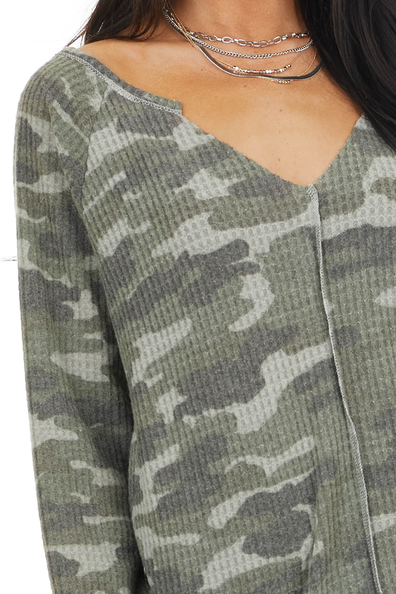 Olive Camo Print Waffle Knit Top with Exposed Stitching