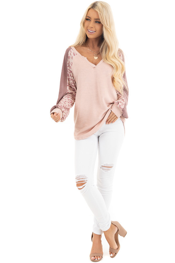 Blush Pink Knit Top with Leopard and Waffle Knit Details front full body