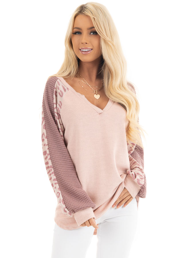 Blush Pink Knit Top with Leopard and Waffle Knit Details front close up