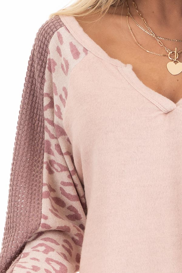 Blush Pink Knit Top with Leopard and Waffle Knit Details detail
