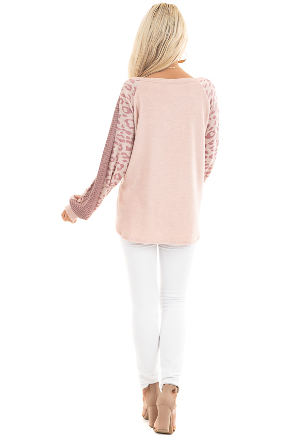 Blush Pink Knit Top with Leopard and Waffle Knit Details back full body