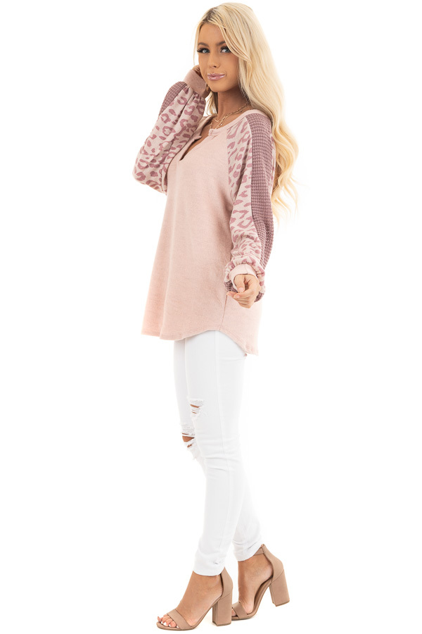 Blush Pink Knit Top with Leopard and Waffle Knit Details side full body